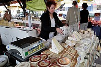 CHEESE SELLER, COVERED MARKET, DEAUVILLE, CALVADOS 14, NORMANDY, FRANCE