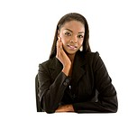 Black business woman portrait isolated over white