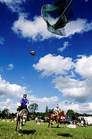 A HORSE BALL MATCH, DEAUVILLE, CALVADOS 14, NORMANDY, FRANCE