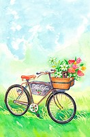 Flower, Watercolor painting of a bicycle with flowers in nature