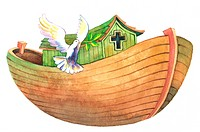 Flower, Watercolor painting of an ark and a flying dove (thumbnail)
