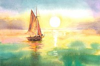 Flower, Watercolor painting of a sailboat on the sea under sunset