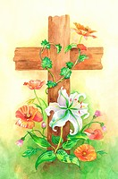 Flower, Watercolor painting of wooden crucifix with flowers