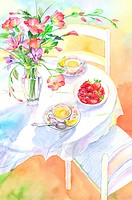 Flower, Watercolor painting of food and drink and a vase of flowers on the dining table