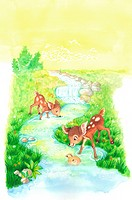 Animal, Watercolor painting of two deer playing along the brook