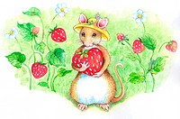 Animal, Watercolor painting of a cute mouse holding a strawberry (thumbnail)