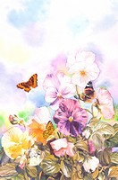 Insects, Watercolor painting of butterflies and flowers