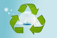 Lohas, Environmental Conservation, Digitally generated image of recycling symbol with drops