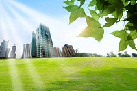 Lohas, Environmental Conservation, Digitally generated image of buildings, green leaf, grass and sunshine
