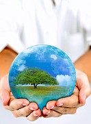 Lohas, Environmental Conservation, Digitally generated image of human hands holding a sphere with plants