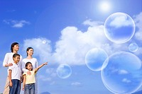 Lohas, Environmental Conservation, Digitally generated image of a family of four people looking away in blue sky