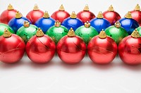 Christmas Baubles in rows