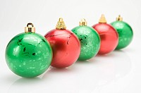 Christmas baubles in a row (thumbnail)