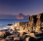 Elgol beach, looking across to the Cuillin Mountains, Isle of Skye, Scotland, UK