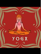 A woman in the lotus position and the word Yoga
