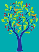 A fruit tree with birds in it on a turquoise background