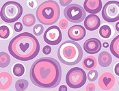 A pattern of purple and pink hearts