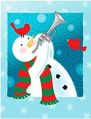 A happy snowman playing the trumpet