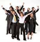 very excited business group isolated over a white background