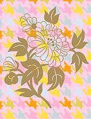 A flower on a colorful herringbone pattern background