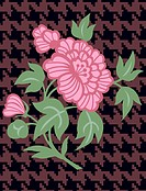 A pink flower on a brown and black herringbone pattern background