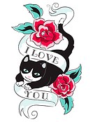 A cat jumping through roses and a sash with the words I Love You