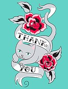A cat jumping through roses and a sash with the words Thank You