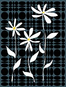 White flowers on a contemporary black and grey pattern background