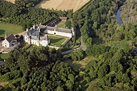 AERIAL VIEW OF THE CHURCH AND CHATEAU OF MOLEANS, EURE_ET_LOIR 28, FRANCE