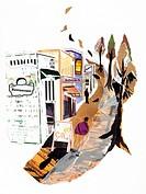 Paper collage of shopping lane