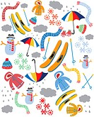 A pattern of coats, scarves, snowflakes and skis for the winter