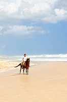 Young girl horseback riding on Caribbean beach