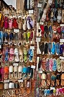 Espadrilles, rope-soled sandals, alpargatas in Spanish in a shop window in the Calle de Toledo, central Madrid, Spain