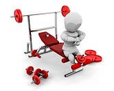 3D render of someone with gym equipment