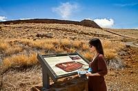 Tourist at Puukohola Heiau Temple, Kohala, Big Island, Hawaii, USA