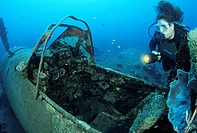 Diver at Airplane Wreck Zero Mitsubishi A6M4, Kimbe Bay, Papua New Guinea