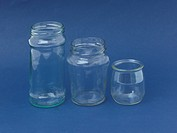 Three Empty Glass Jam Jars