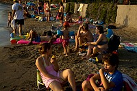 People on Beach Vouliagmeni Attica Greece