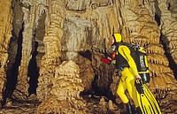 scuba diver in stalactite cave, Pont d´en gil, Menorca, Balearic Islands, Spain