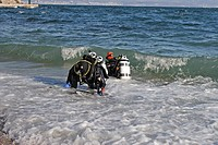 Scuba Diver in Surf Zone, Istria, Adriatic Sea, Croatia