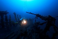 Scuba Diver on Shipwreck, Krk Island, Adriatic Sea, Croatia