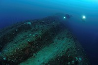 Hull of Wreck USS Arkansas, Bikini Atoll, Marshall Islands