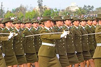 Woman police in Military Parade of Santiago city Chile