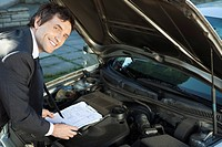 Inspecting car engine