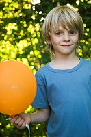 Boy with balloon, portrait