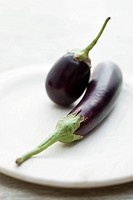 Eggplants on plate