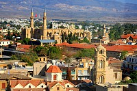 Cyprus, Nicosia, Panayia Fanaromeni church and the mosque of Selim at back
