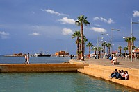 Cyprus, Paphos, seawater pool, the port and the Paphos castle