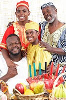 African American multi_generational family in traditional clothing