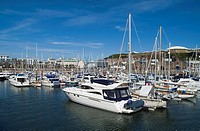 Albert Harbour ST HELIER JERSEY Yachts berthed alongside quay St Helier Marina